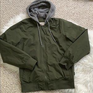 Hollister Army Green sweatshirt number jacket